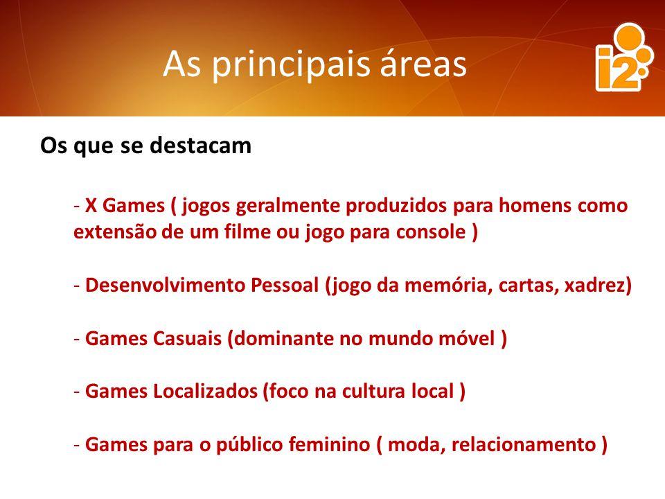 As principais áreas Os que se destacam - X Games ( jogos geralmente produzidos para homens como extensão de um filme ou jogo para console ) - Desenvolvimento Pessoal (jogo da memória, cartas, xadrez) - Games Casuais (dominante no mundo móvel ) - Games Localizados (foco na cultura local ) - Games para o público feminino ( moda, relacionamento )
