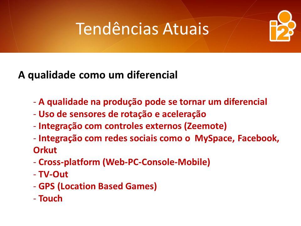 Tendências Atuais A qualidade como um diferencial - A qualidade na produção pode se tornar um diferencial - Uso de sensores de rotação e aceleração - Integração com controles externos (Zeemote) - Integração com redes sociais como o MySpace, Facebook, Orkut - Cross-platform (Web-PC-Console-Mobile) - TV-Out - GPS (Location Based Games) - Touch