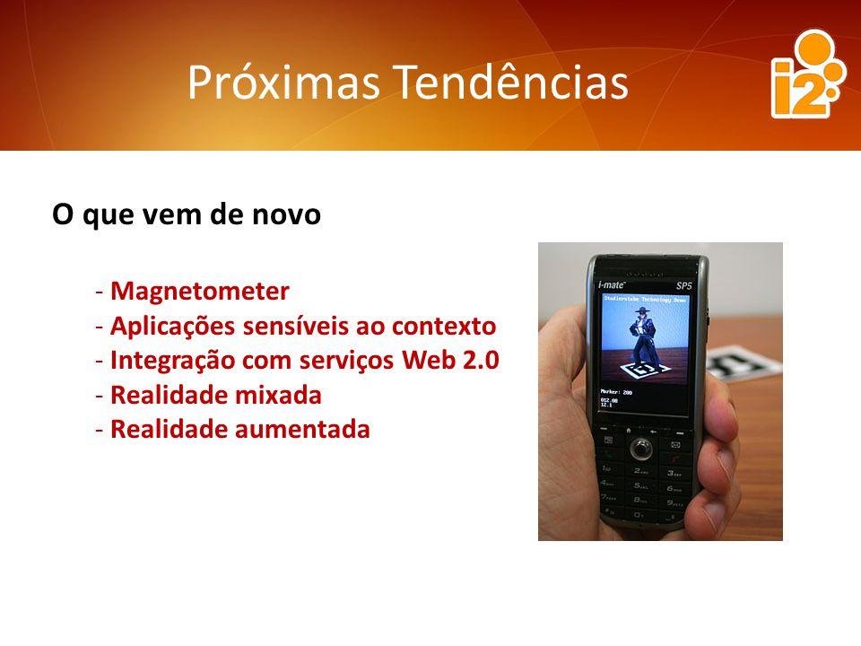 Próximas Tendências O que vem de novo - Magnetometer - Aplicações sensíveis ao contexto - Integração com serviços Web 2.0 - Realidade mixada - Realidade aumentada
