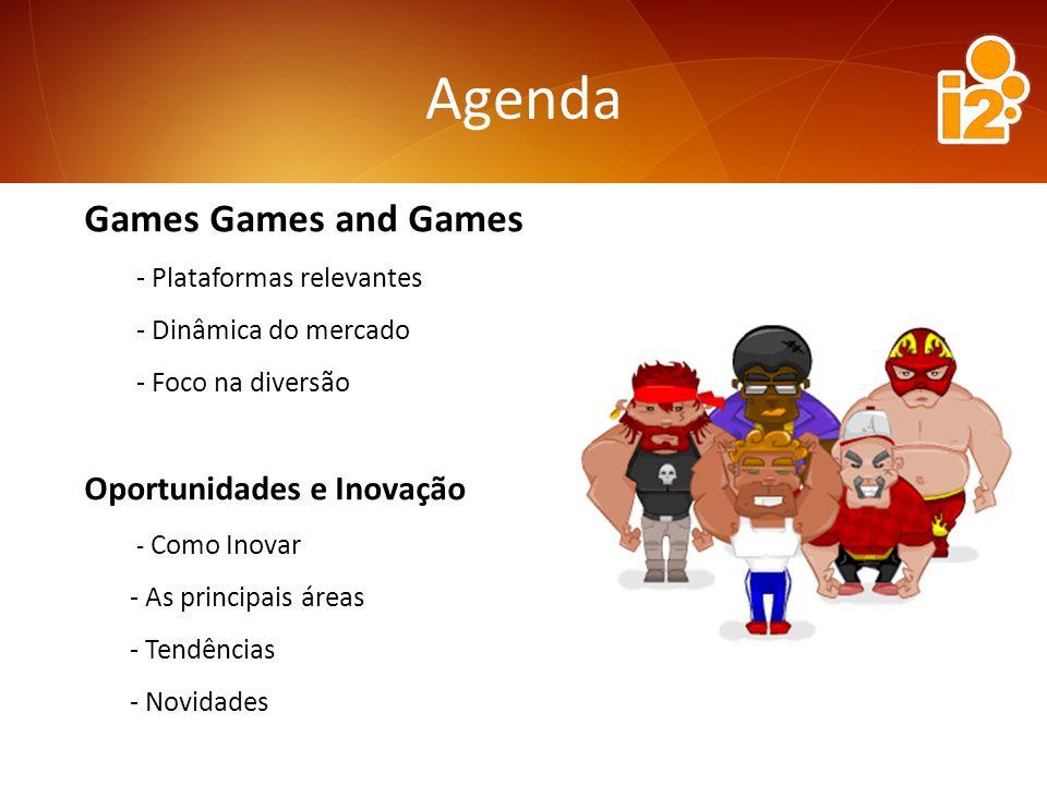 Games Games and Games - Plataformas relevantes - Dinâmica do mercado - Foco na diversão Oportunidades e Inovação - Como Inovar - As principais áreas - Tendências - Novidades Agenda