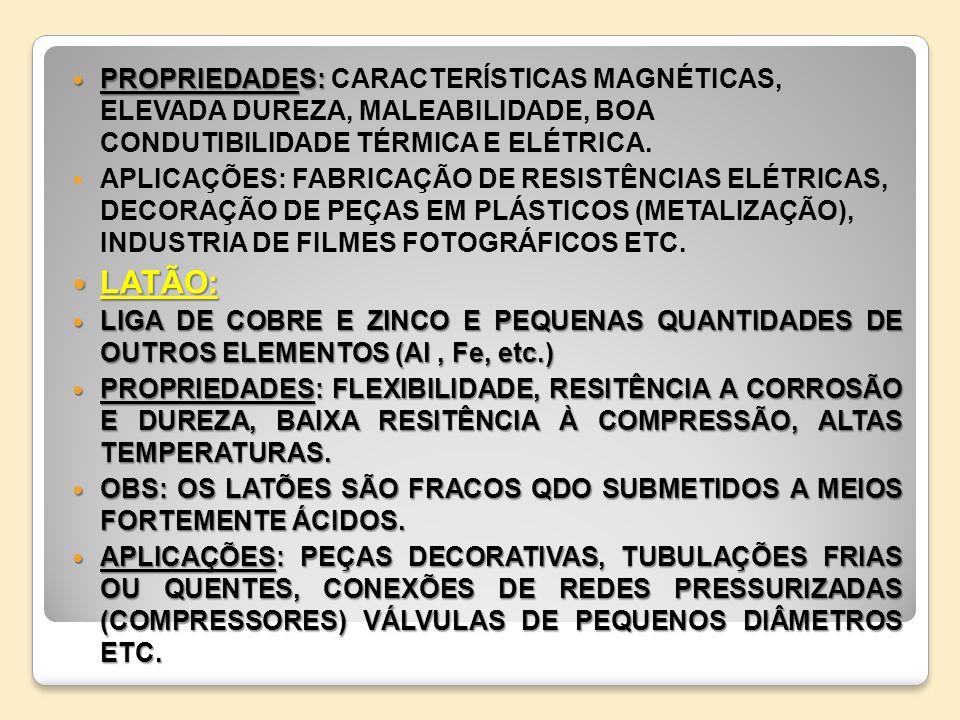 PROPRIEDADES: PROPRIEDADES: CARACTERÍSTICAS MAGNÉTICAS, ELEVADA DUREZA, MALEABILIDADE, BOA CONDUTIBILIDADE TÉRMICA E ELÉTRICA. APLICAÇÕES: FABRICAÇÃO
