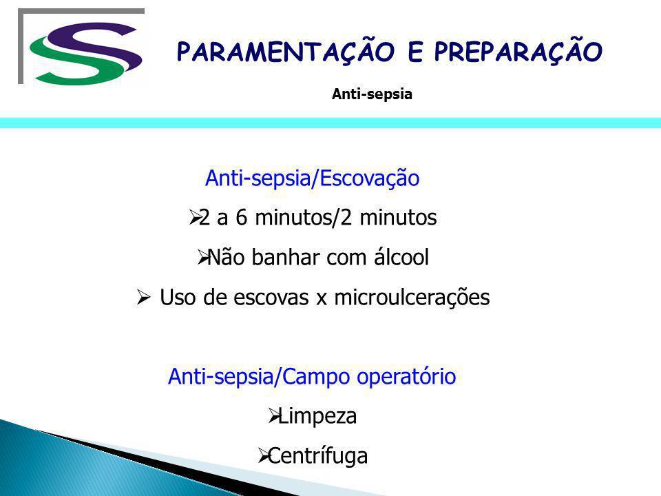Anti-sepsia/Escovação 2 a 6 minutos/2 minutos Não banhar com álcool Uso de escovas x microulcerações Anti-sepsia/Campo operatório Limpeza Centrífuga P