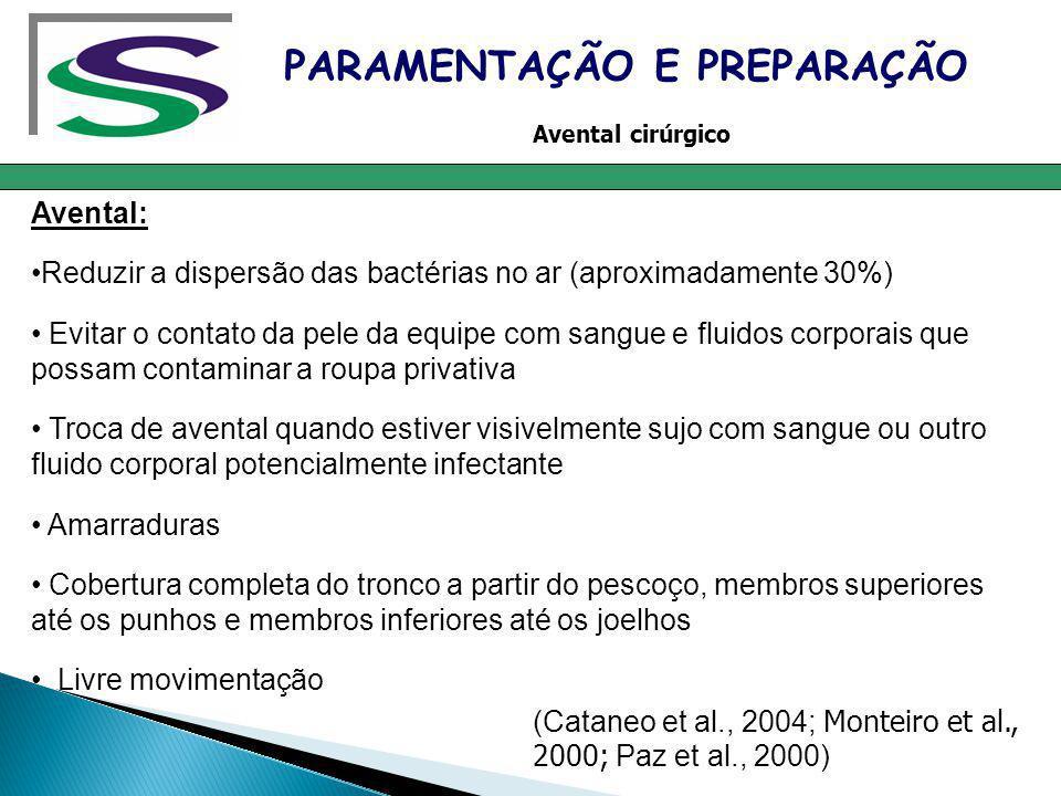 Avental: Reduzir a dispersão das bactérias no ar (aproximadamente 30%) Evitar o contato da pele da equipe com sangue e fluidos corporais que possam co