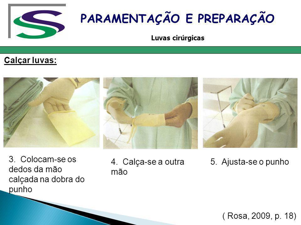 Calçar luvas: PARAMENTAÇÃO E PREPARAÇÃO Luvas cirúrgicas 3. Colocam-se os dedos da mão calçada na dobra do punho 4. Calça-se a outra mão 5. Ajusta-se