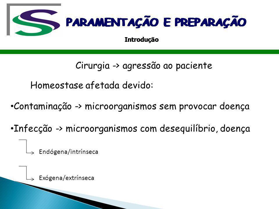 Cirurgia -> agressão ao paciente Contaminação -> microorganismos sem provocar doença Infecção -> microorganismos com desequilíbrio, doença Homeostase