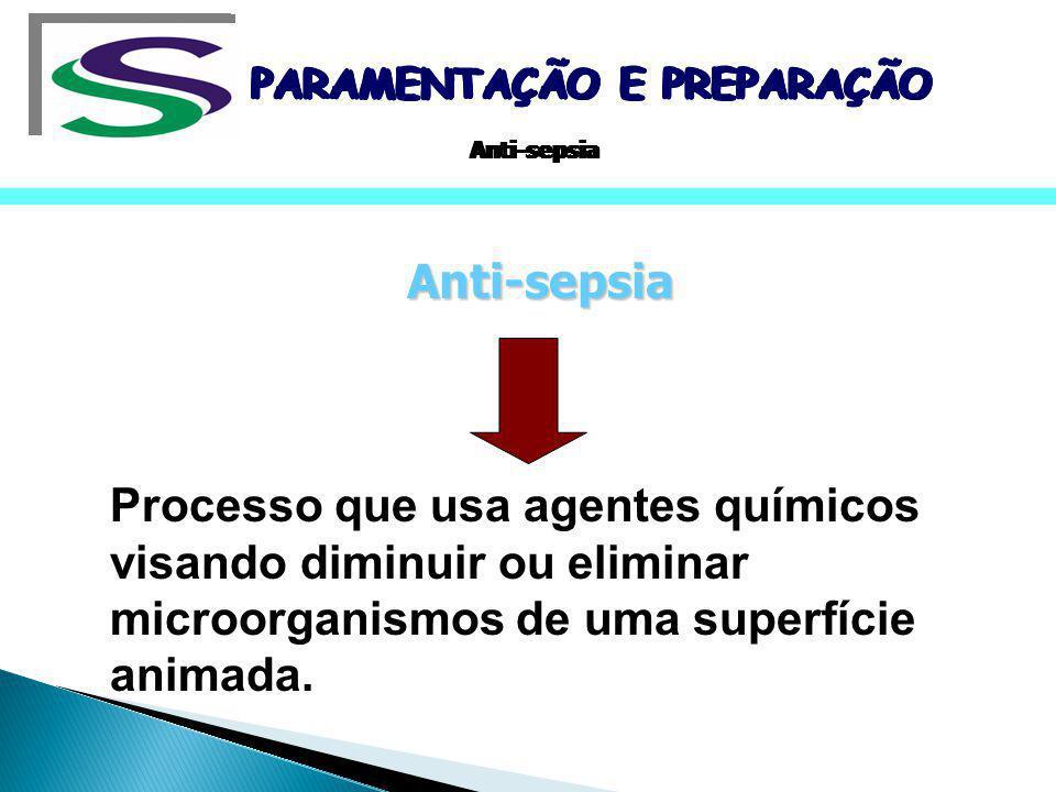 Agentes anti-sépticos(pele e mucosas) Efetividade, segurança e baixo custo Anti-sépticos ideais Alcoóis, gluconato de clorexidina e iodofórmios PARAMENTAÇÃO E PREPARAÇÃO Anti-sepsia