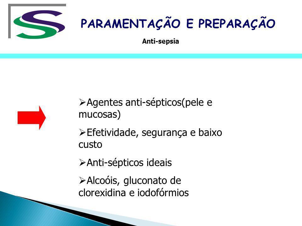 Agentes anti-sépticos(pele e mucosas) Efetividade, segurança e baixo custo Anti-sépticos ideais Alcoóis, gluconato de clorexidina e iodofórmios PARAME