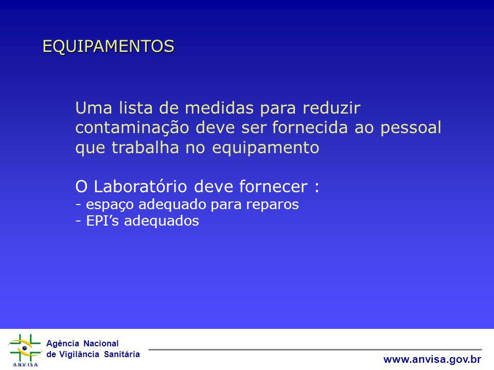 Agência Nacional de Vigilância Sanitária www.anvisa.gov.br EQUIPAMENTOS O equipamento não conforme deve ser RETIRADO do serviço, rotulado ou marcado c