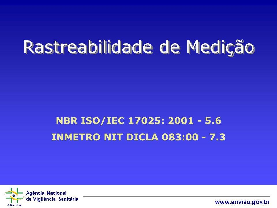 Agência Nacional de Vigilância Sanitária www.anvisa.gov.br EQUIPAMENTOS Onde as calibrações derem origem a um conjunto de fatores de correção, o labor