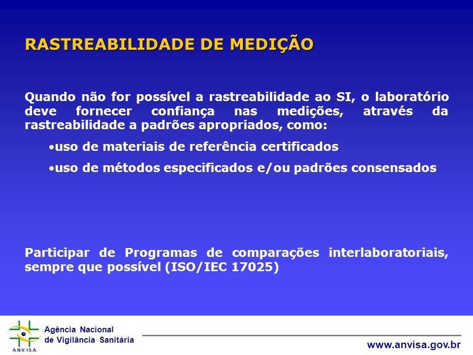 Agência Nacional de Vigilância Sanitária www.anvisa.gov.br Todo equipamento, incluindo aqueles para medições auxiliares, deve ser calibrado antes de c