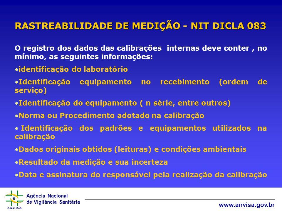 Agência Nacional de Vigilância Sanitária www.anvisa.gov.br Quando não for possível a rastreabilidade ao SI, o laboratório deve fornecer confiança nas medições, através da rastreabilidade a padrões apropriados, como: uso de materiais de referência certificados uso de métodos especificados e/ou padrões consensados RASTREABILIDADE DE MEDIÇÃO Participar de Programas de comparações interlaboratoriais, sempre que possível (ISO/IEC 17025)