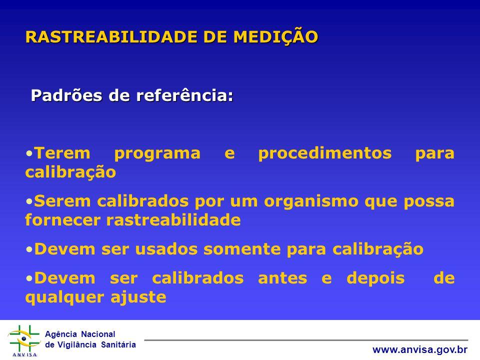 Agência Nacional de Vigilância Sanitária www.anvisa.gov.br O registro dos dados das calibrações internas deve conter, no mínimo, as seguintes informaç