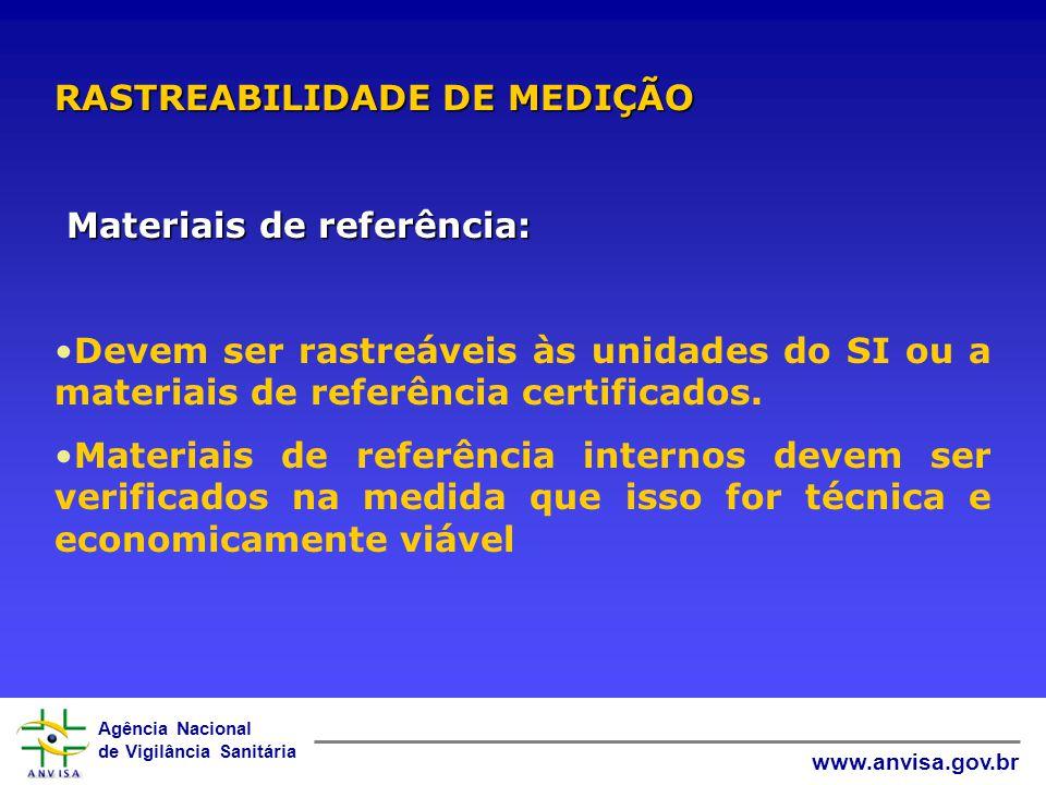Agência Nacional de Vigilância Sanitária www.anvisa.gov.br Padrões de referência: Terem programa e procedimentos para calibração Serem calibrados por