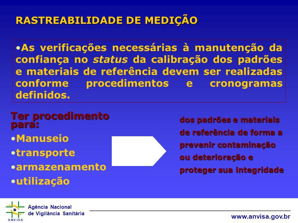 Agência Nacional de Vigilância Sanitária www.anvisa.gov.br RASTREABILIDADE DE MEDIÇÃO Materiais de referência: Devem ser rastreáveis às unidades do SI ou a materiais de referência certificados.