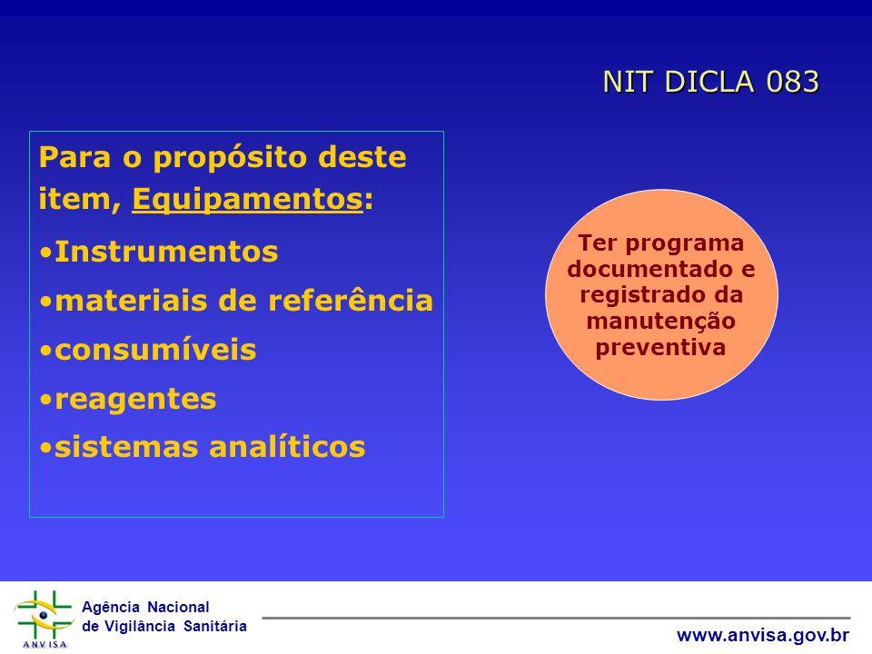 Agência Nacional de Vigilância Sanitária www.anvisa.gov.br... deve ser aparelhado com TODOS os equipamentos para amostragem, medição e ensaio requerid