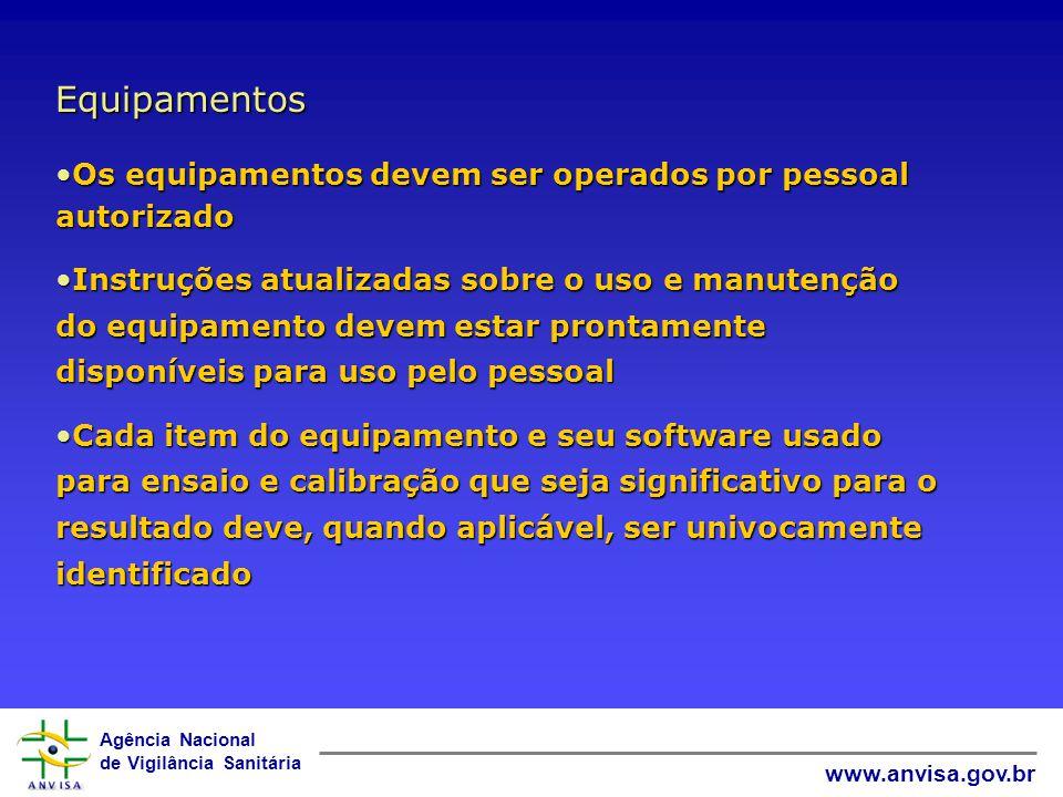 Agência Nacional de Vigilância Sanitária www.anvisa.gov.br Equipamentos e seus softwares Antes de ser colocado em serviço, o equipamento deve ser calibrado ou verificado para determinar se ele atende aos requisitos especificados...