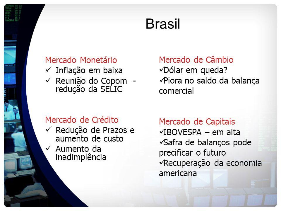 Brasil Mercado Monetário Inflação em baixa Reunião do Copom - redução da SELIC Mercado de Crédito Redução de Prazos e aumento de custo Aumento da inadimplência Mercado de Câmbio Dólar em queda.