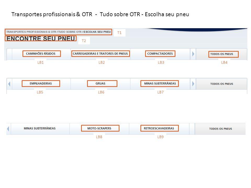 Transportes profissionais & OTR - Tudo sobre OTR - Escolha seu pneu T1 T2 LB1 LB2LB3LB4 LB5 LB6LB7 LB8 LB9