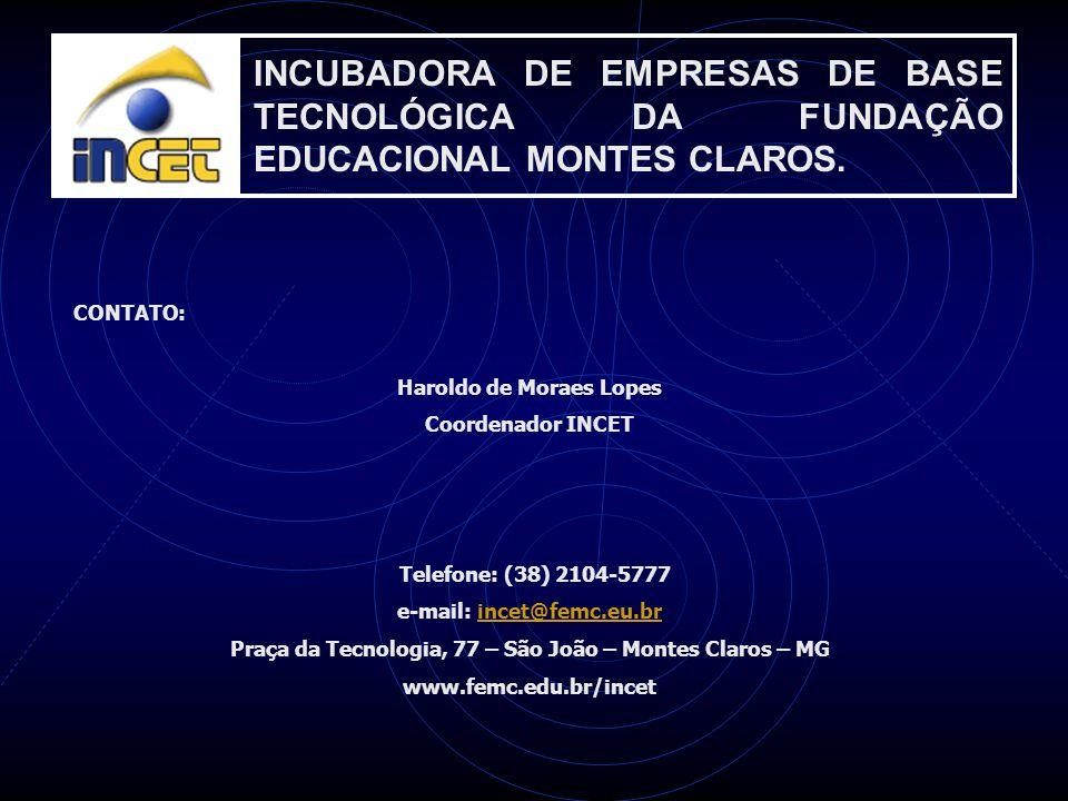 INCUBADORA DE EMPRESAS DE BASE TECNOLÓGICA DA FUNDAÇÃO EDUCACIONAL MONTES CLAROS. CONTATO: Haroldo de Moraes Lopes Coordenador INCET Telefone: (38) 21