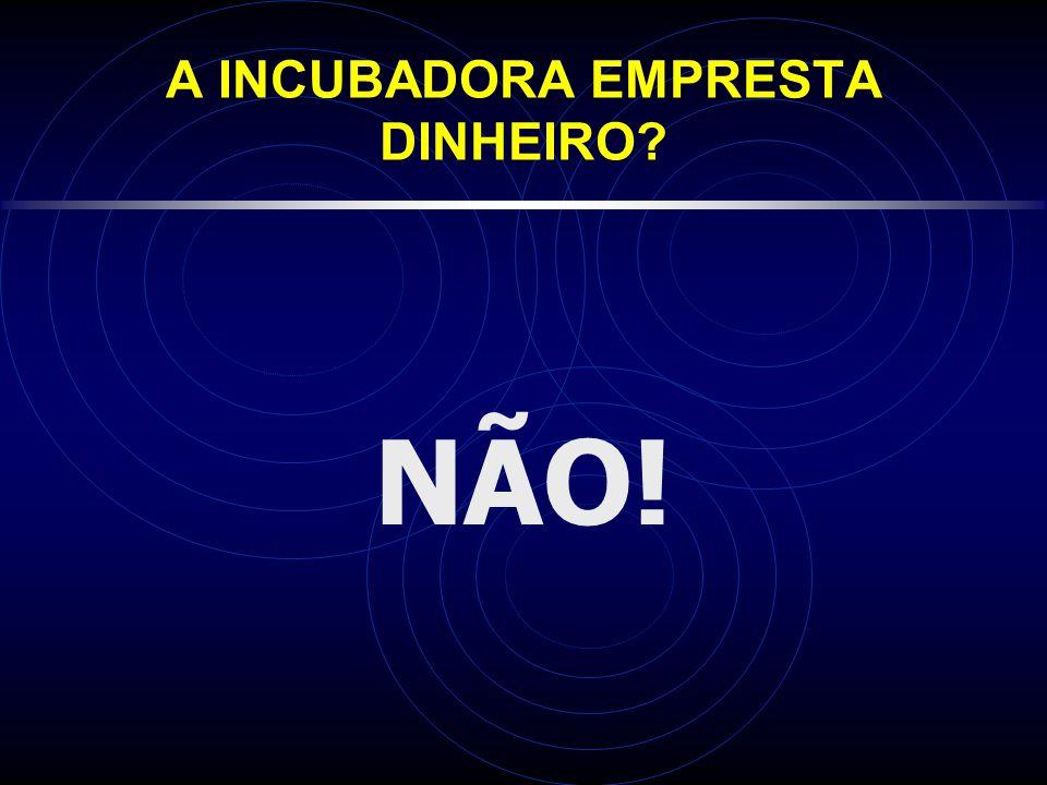 A INCUBADORA EMPRESTA DINHEIRO? NÃO!