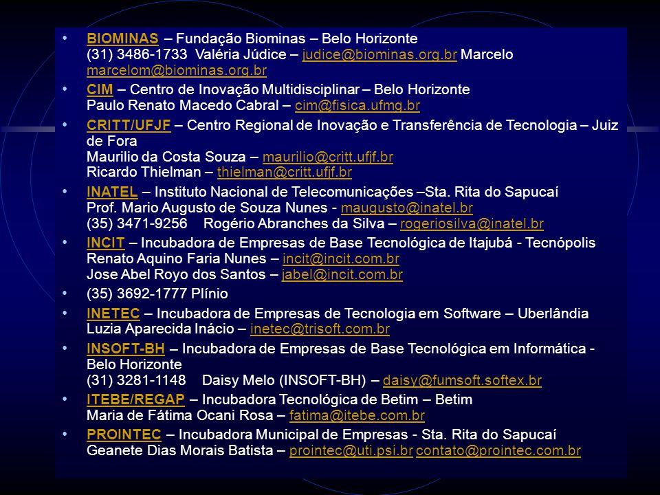 BIOMINAS – Fundação Biominas – Belo Horizonte (31) 3486-1733 Valéria Júdice – judice@biominas.org.br Marcelo marcelom@biominas.org.br BIOMINASjudice@b