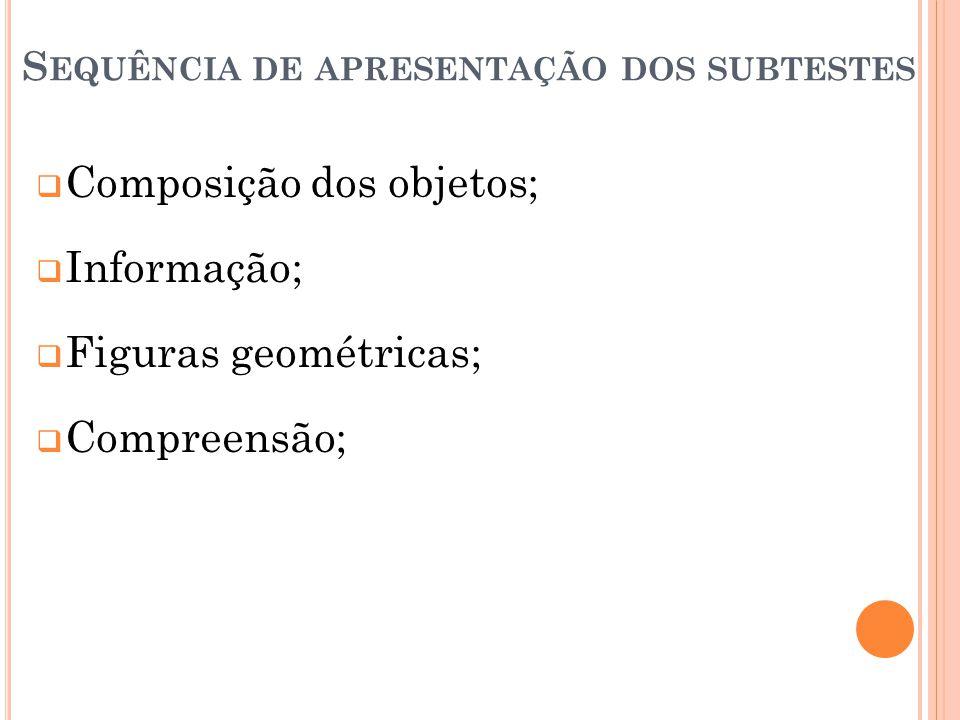 S EQUÊNCIA DE APRESENTAÇÃO DOS SUBTESTES Composição dos objetos; Informação; Figuras geométricas; Compreensão;
