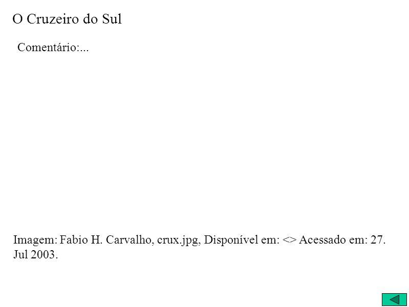 Comentário:... Imagem: Fabio H. Carvalho, crux.jpg, Disponível em: <> Acessado em: 27. Jul 2003.