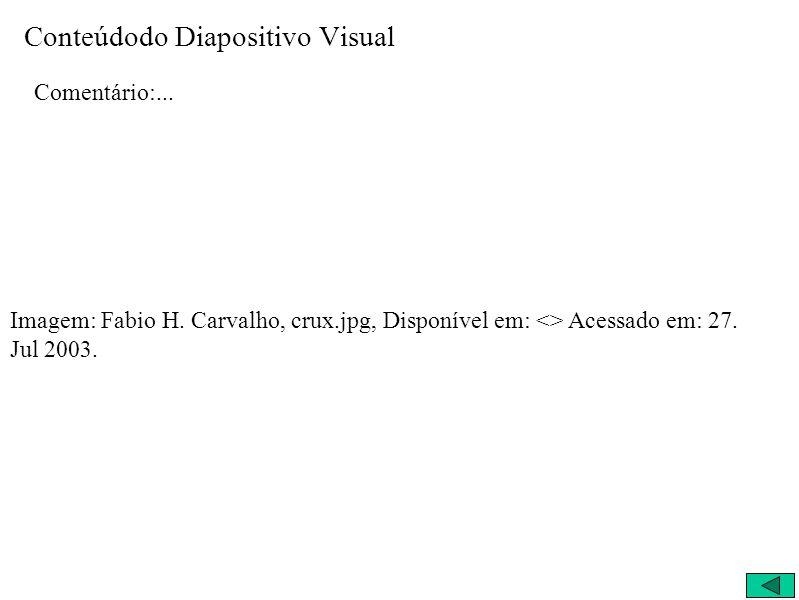 Conteúdodo Diapositivo Visual Comentário:... Imagem: Fabio H. Carvalho, crux.jpg, Disponível em: <> Acessado em: 27. Jul 2003.