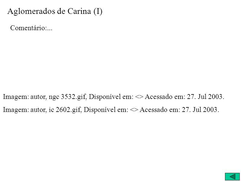 Aglomerados de Carina (I) Comentário:... Imagem: autor, ngc 3532.gif, Disponível em: <> Acessado em: 27. Jul 2003. Imagem: autor, ic 2602.gif, Disponí