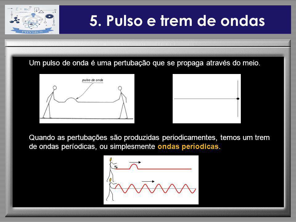 5. Pulso e trem de ondas Um pulso de onda é uma pertubação que se propaga através do meio. Quando as pertubações são produzidas periodicamentes, temos