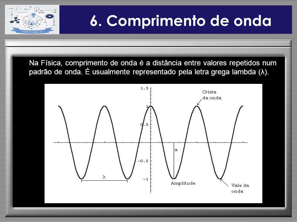 6. Comprimento de onda Na Física, comprimento de onda é a distância entre valores repetidos num padrão de onda. É usualmente representado pela letra g