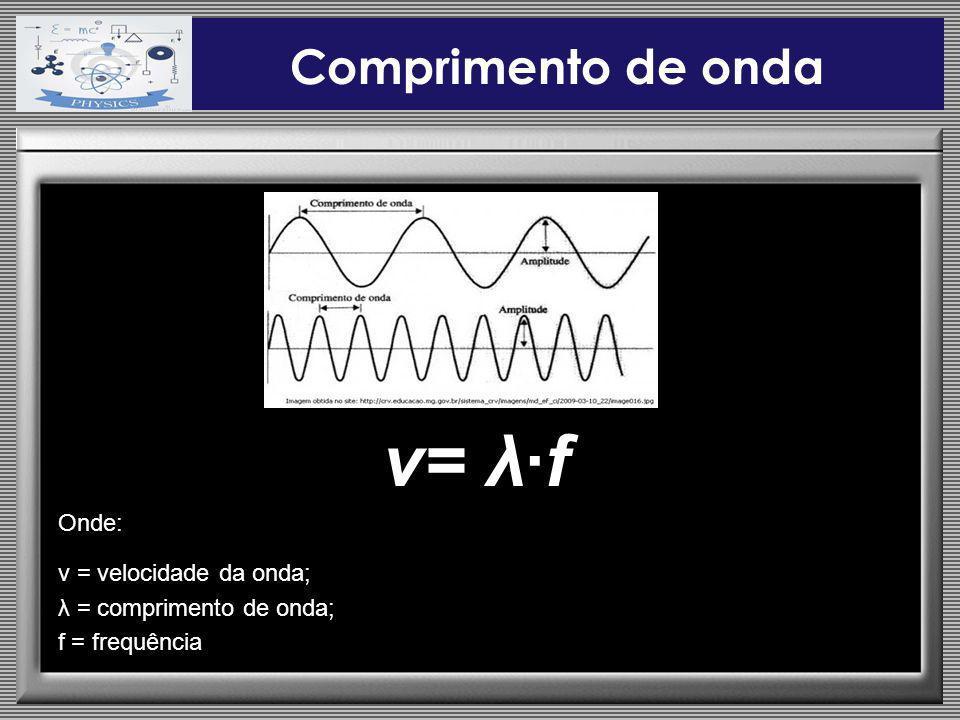 Comprimento de onda v= λf Onde: v = velocidade da onda; λ = comprimento de onda; f = frequência