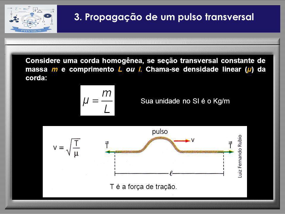 Considere uma corda homogênea, se seção transversal constante de massa m e comprimento L ou l. Chama-se densidade linear (µ) da corda: 3. Propagação d