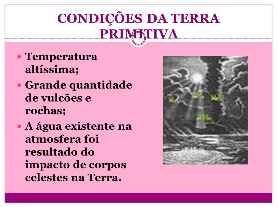 CONDIÇÕES DA TERRA PRIMITIVA Temperatura altíssima; Grande quantidade de vulcões e rochas; A água existente na atmosfera foi resultado do impacto de c