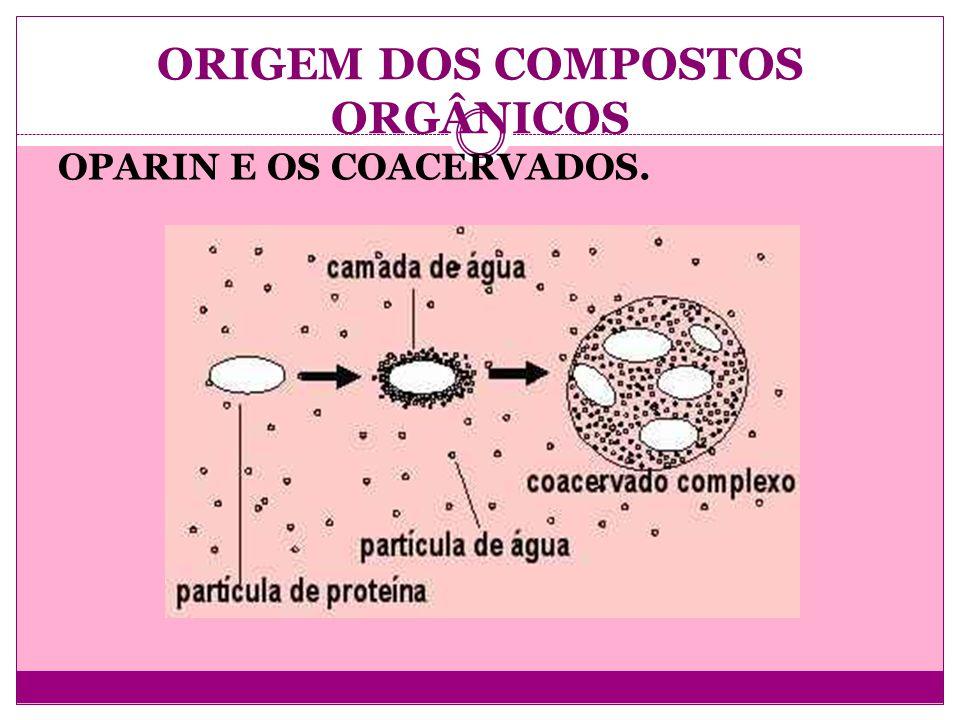 ORIGEM DOS COMPOSTOS ORGÂNICOS OPARIN E OS COACERVADOS.