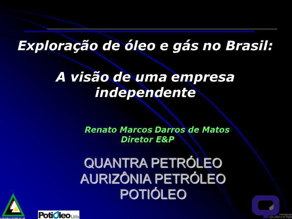 Exploração de óleo e gás no Brasil: A visão de uma empresa independente Renato Marcos Darros de Matos Diretor E&P QUANTRA PETRÓLEO AURIZÔNIA PETRÓLEO POTIÓLEO