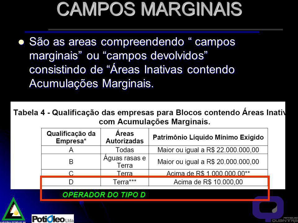 CAMPOS MARGINAIS São as areas compreendendo campos marginais ou campos devolvidos consistindo de Áreas Inativas contendo Acumulações Marginais.