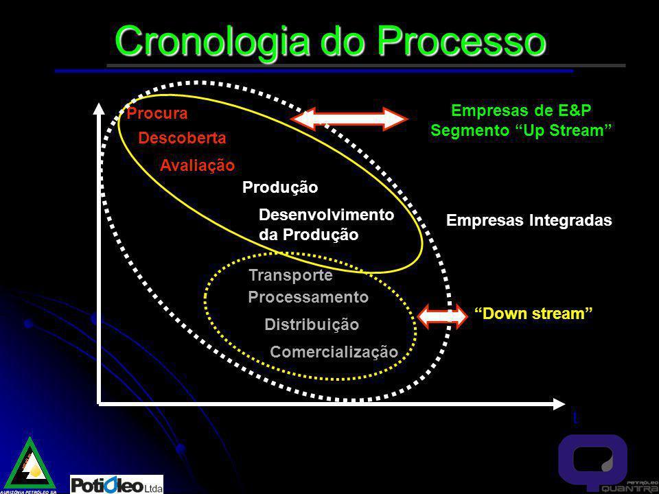 Cronologia do Processo t Procura Descoberta Avaliação Produção Desenvolvimento da Produção Transporte Processamento Distribuição Comercialização Empresas de E&P Segmento Up Stream Down stream Empresas Integradas