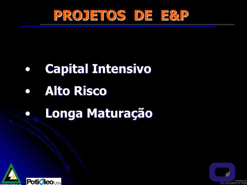 PROJETOS DE E&P Capital IntensivoCapital Intensivo Alto RiscoAlto Risco Longa MaturaçãoLonga Maturação