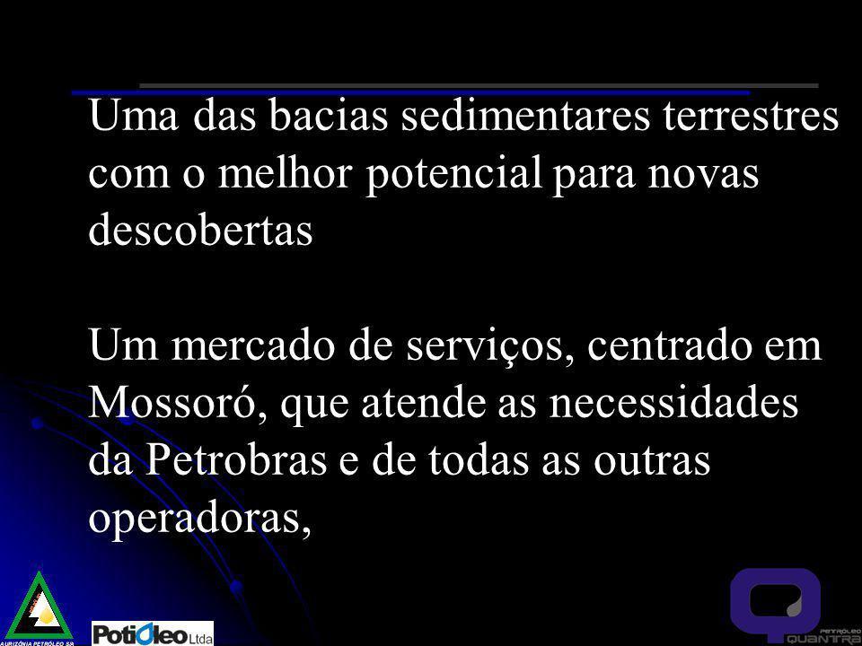 Uma das bacias sedimentares terrestres com o melhor potencial para novas descobertas Um mercado de serviços, centrado em Mossoró, que atende as necessidades da Petrobras e de todas as outras operadoras,