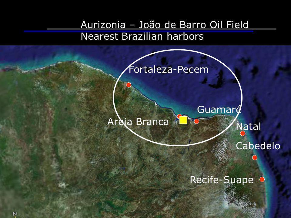 Fortaleza-Pecem Guamaré Areia Branca Recife-Suape Aurizonia – João de Barro Oil Field Nearest Brazilian harbors Cabedelo Natal
