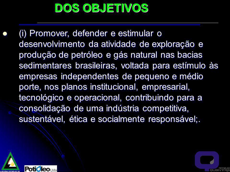 (i) Promover, defender e estimular o desenvolvimento da atividade de exploração e produção de petróleo e gás natural nas bacias sedimentares brasileiras, voltada para estímulo às empresas independentes de pequeno e médio porte, nos planos institucional, empresarial, tecnológico e operacional, contribuindo para a consolidação de uma indústria competitiva, sustentável, ética e socialmente responsável;.