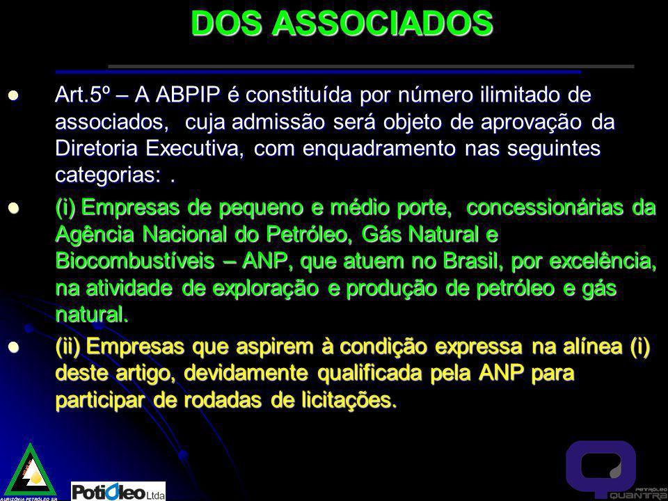 DOS ASSOCIADOS Art.5º – A ABPIP é constituída por número ilimitado de associados, cuja admissão será objeto de aprovação da Diretoria Executiva, com enquadramento nas seguintes categorias:.