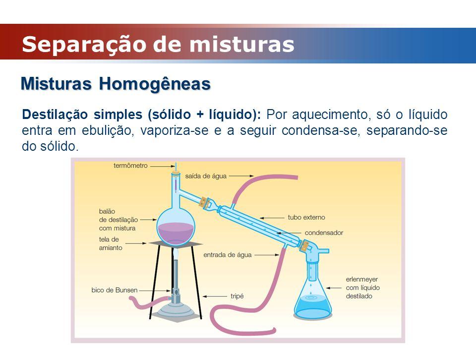 Misturas Homogêneas Destilação simples (sólido + líquido): Por aquecimento, só o líquido entra em ebulição, vaporiza-se e a seguir condensa-se, separa