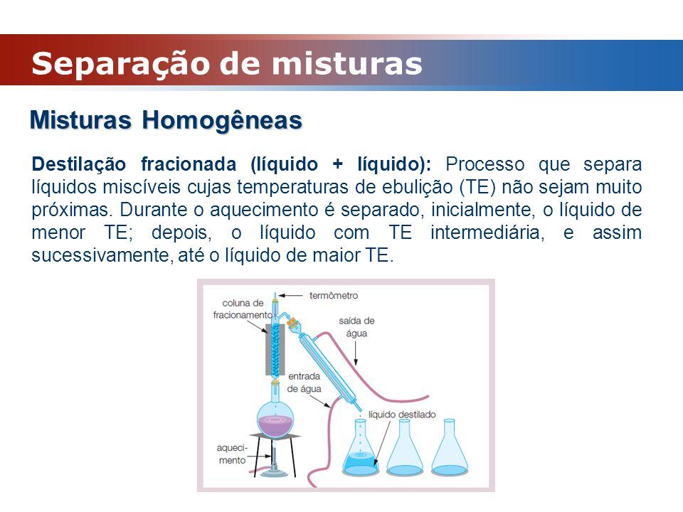 Misturas Homogêneas Destilação fracionada (líquido + líquido): Processo que separa líquidos miscíveis cujas temperaturas de ebulição (TE) não sejam mu