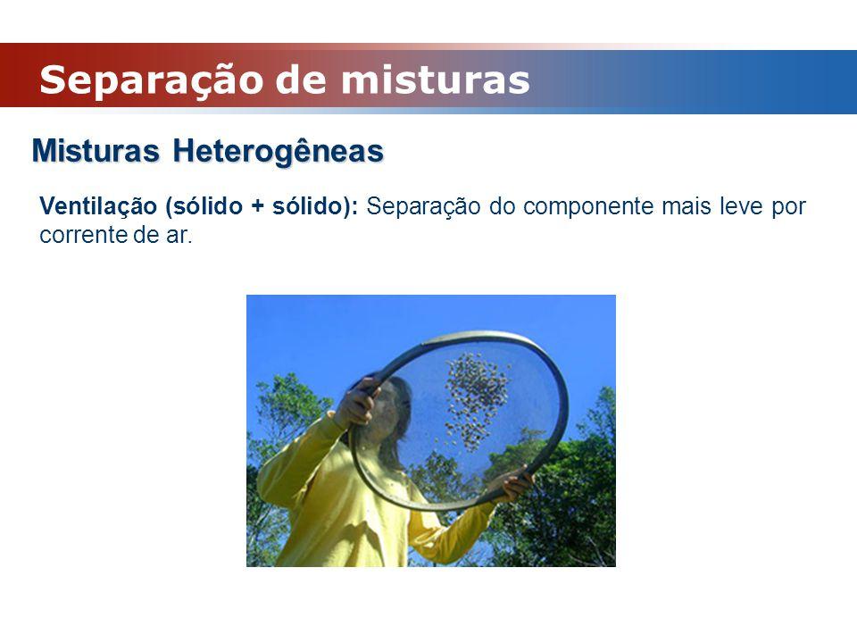 Misturas Heterogêneas Ventilação (sólido + sólido): Separação do componente mais leve por corrente de ar. Separação de misturas