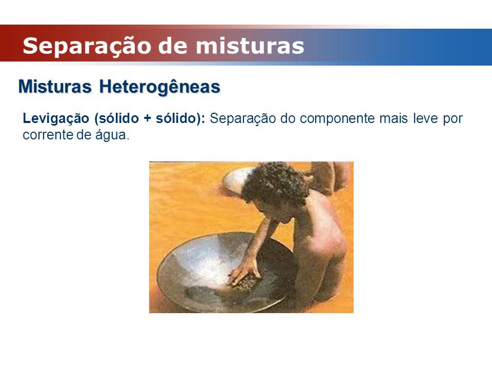 Misturas Heterogêneas Levigação (sólido + sólido): Separação do componente mais leve por corrente de água. Separação de misturas