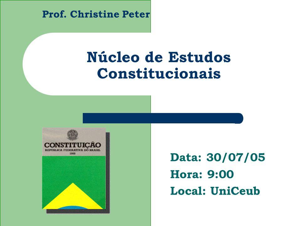 Prof. Christine Peter Núcleo de Estudos Constitucionais Data: 30/07/05 Hora: 9:00 Local: UniCeub