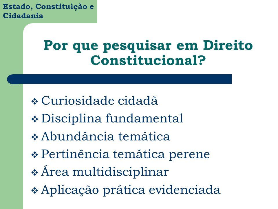 Estado, Constituição e Cidadania Por que pesquisar em Direito Constitucional? Curiosidade cidadã Disciplina fundamental Abundância temática Pertinênci
