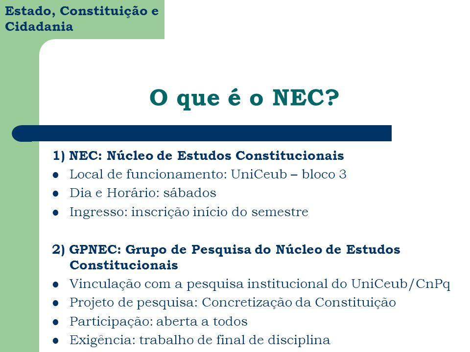 Estado, Constituição e Cidadania NEC: Núcleo de Estudos Constitucionais O NEC nasceu do esforço de otimizar o trabalho de pesquisa que conduziria os alunos de graduação em Direito para a produção de uma monografia de final de curso na área de Direito Constitucional.